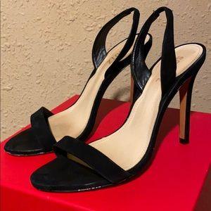 Schutz Luriane Slingback Heels Sandals Black Suede